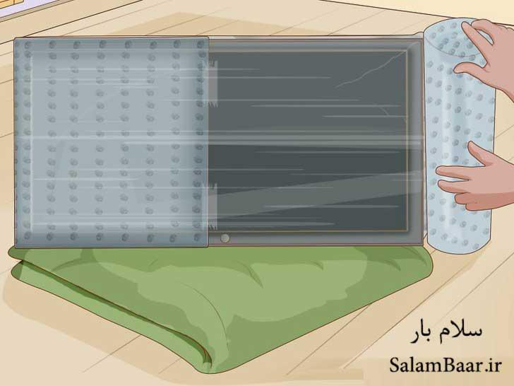 پیچیدن تلویزیون با مواد نرم بسته بندی